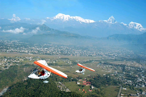 Flying in Pokhara
